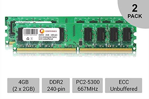 4GB KIT 2 x 2GB DIMM DDR2 ECC Unbuffered PC2-5300 667MHz ...