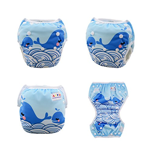 ALVABABY Swim Diapers Reusable Adjustable & Washalbe for Boys & Girls One Size 2pcs DYK13-14