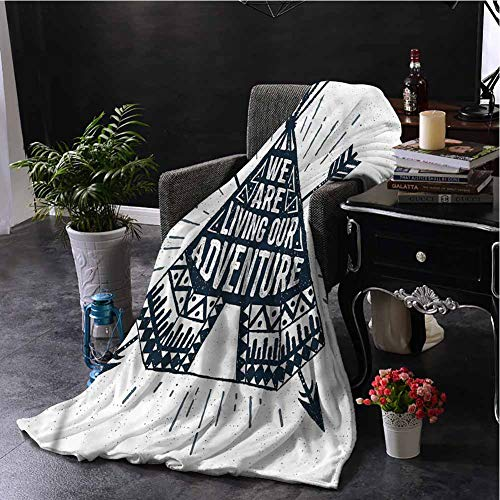 Luoiaax Adventure Comfortable Large Blanket Teepee with Arrows Microfiber Blanket Bed Sofa or Travel W70 x L84 Inch