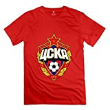 Yisw Man's CSKA Moscow T-Shirt XXL Red O Neck Quotes Tees Shirt