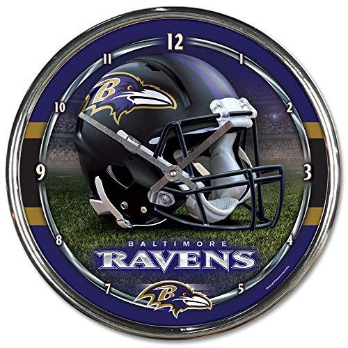 Inch Wall 12 Clock Football - Nfl Football Team Chrome Wall Clock , Baltimore Ravens , 12-Inch