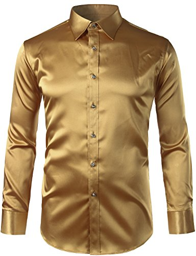 Zeroyaa Mens Regular Fit Long Sleeve Shiny Satin Silk Like Dance Prom Dress Shirt Tops Z6-Gold Medium Shiny Silk Dress