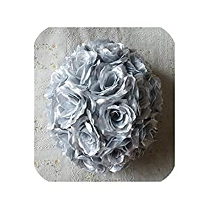 Artificial Silk Rose Flower Ball Wedding Marriage Party Christmas Decoration,Silver,15cm 45