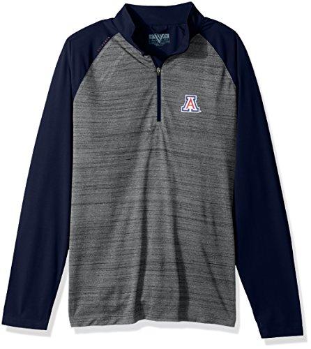 - NCAA Arizona Wildcats Men's Vandal Wordmark Quarter Zip Mid-Layer, Large, Heather Grey/Navy