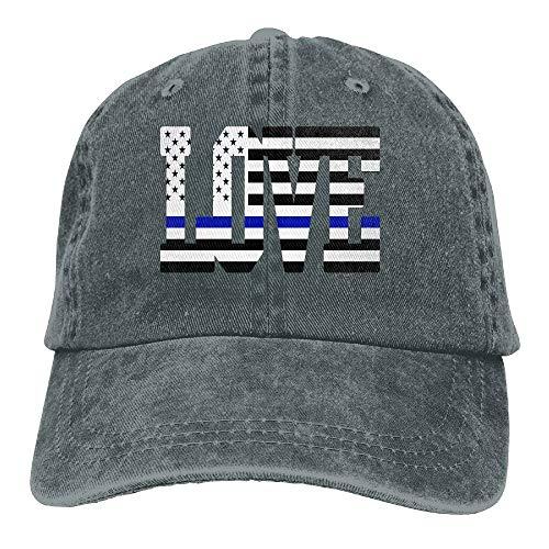 I Love Thin Blue Line US Flag Cowboy Hat Adjustable Baseball Cap Sunhatcap Peaked Cap