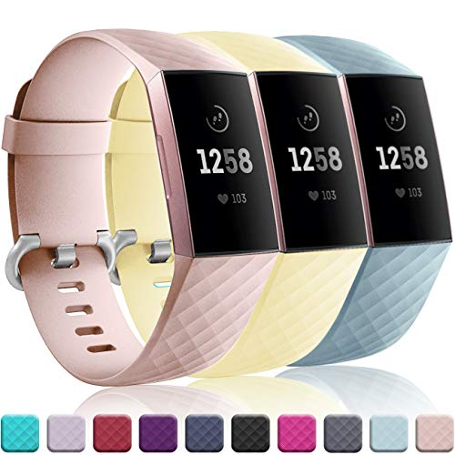 Wepro Bands Replacement Compatible Fitbit Charge 3 for Women Men Large, 3 Pack Sports Watch Band Strap Waterproof Wristband for Fitbit Charge 3 & Charge 3 SE Tracker, Pink Sand, Cream Yellow, Aqua