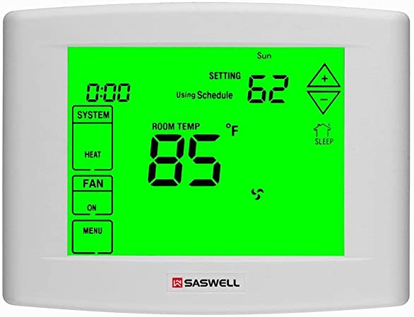 Wifi Thermostats For Home with Smart Wi-Fi 7 Day Programmable, 5 Inches Touch Screen Display, Remote Control, Dual Powered, 3 Heat 2 Cool, Saswell ...