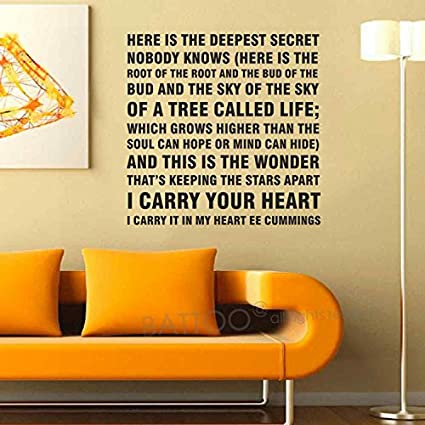 Amazon.com: BATTOO EE cummings Wall Saying I carry your heart ...