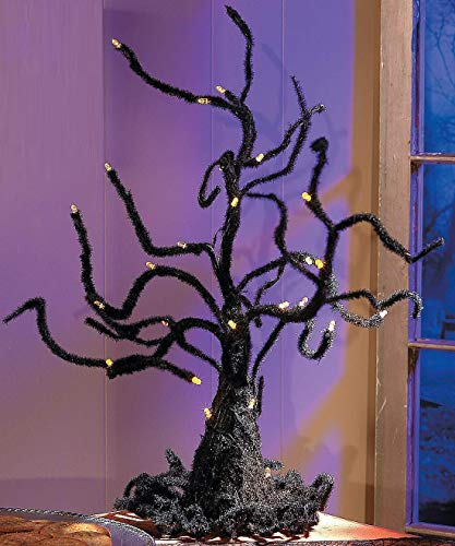 Spooky Wire Ghost Tree with LED Lights Halloween Decor (Light Sherwood Night)