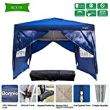 VINGLI Bonnlo 10' x 10' Heavy Duty Ez Pop Up Canopy Tent with 4 Removable Sidewalls Panels,Folding Instant Wedding Party Outdoor Commercial Event Gazebo Pavilion W/Carrying Bag,Blue