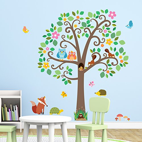 Decowall DML-1502 Large Scroll Tree & Animals Peel and Stick Nursery Kids Wall Decals Stickers