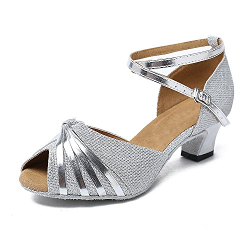Silver Knot Satin 7 Synthetic M Professional Evening Wedding GL193B MINITOO Women's Latin UK 5 Dance Sandals Shoes EqAttw