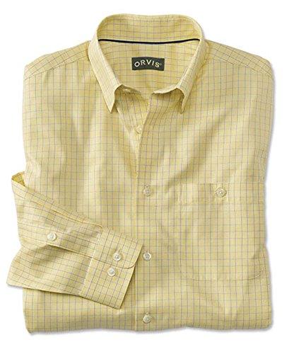 Orvis Men's Hidden-Button-Down Wrinkle-Free Cotton Twill Shirt/Regular, Yellow Check, Medium