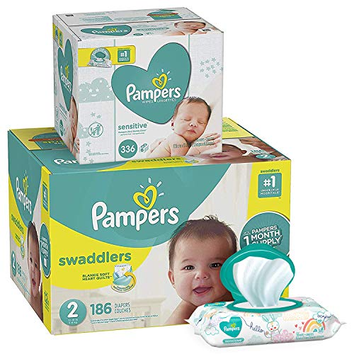 Diapers Size 2, 186 Count and Baby Wipes - Pampers Swaddlers Disposable Baby Diapers and Water Baby Wipes Sensitive Pop-Top Packs, 336 Count