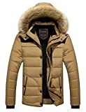 Menschwear Men's Faux Fur Hooded Down Jacket Parka Flannel Lined Winter Outwear,Khaki,USA L Size:40/Tag 3XL