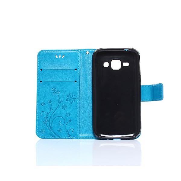 Beiuns Funda de PU Piel para Samsung Galaxy J2 SM-J200 Carcasa - R151 Noble Negro 4