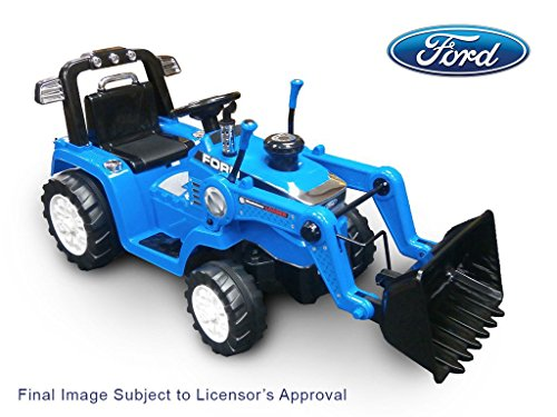 Ride On Ford Tractor with Loader in Battery Powered Wheel Kids Ride On, Blue, 50.4 x 21.26 x 26.8 ()