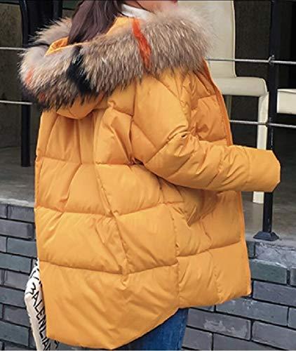 Giallo Piumino Puffer Disposizione Con Ispessiscono Donne Pelliccia Cappuccio Lungo Della Inverno Gocgt Parka Delle Soprabito wPqff6