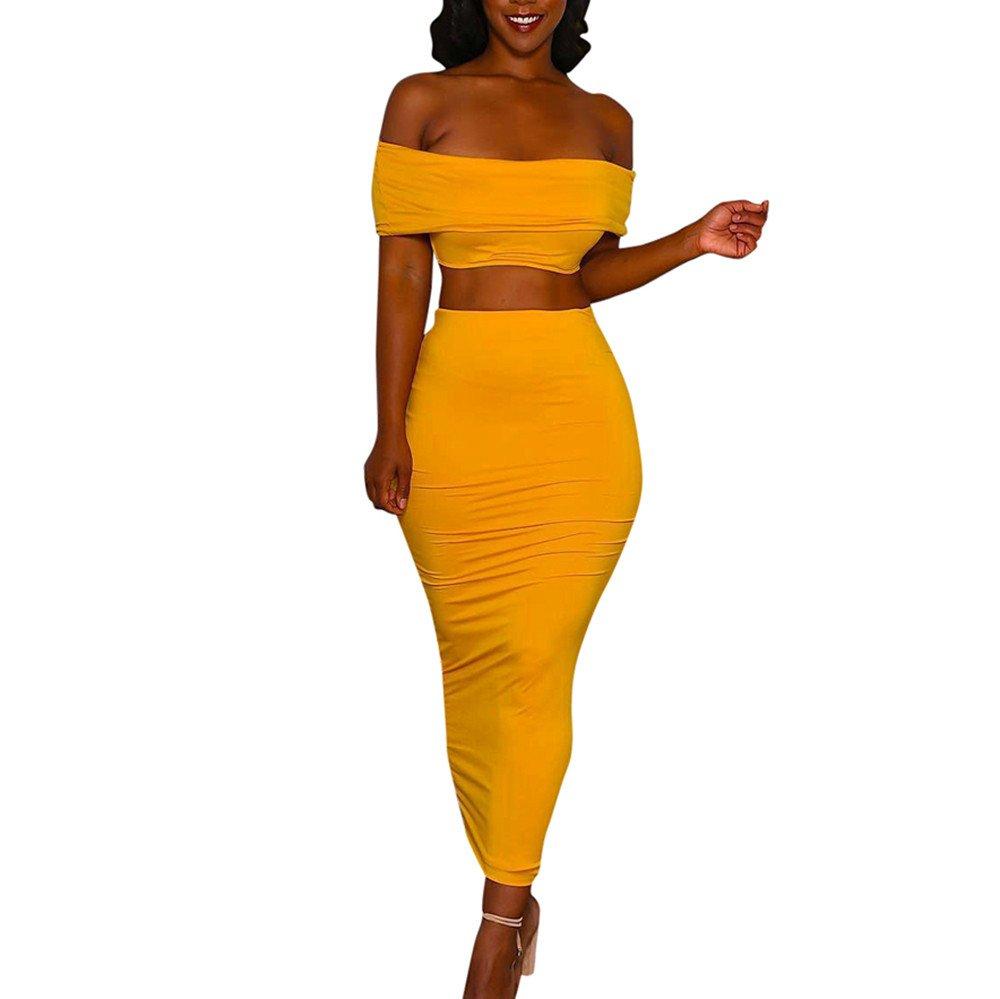 Easytoy Women's Spaghetti Strap Crop Top Maxi Skirt Set 2 Piece Outfit Bandage Nightclub Dress (S)