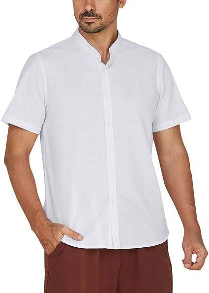 Camisas de Talla Grande Hombre, ZARLLE Botón Holgado de Lino de algodón Collar de pie Camiseta, Botón de Manga Corta sólido Camisa Retro Tops Blusa: Amazon.es: Ropa y accesorios