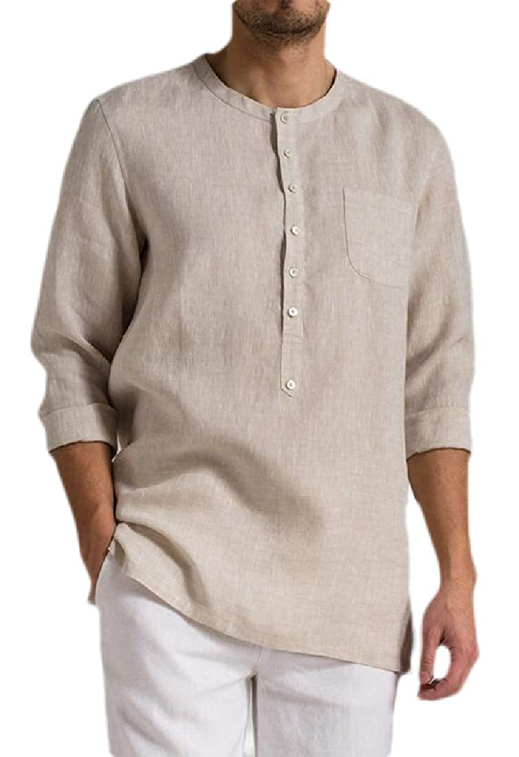 hower Men Fashion Cotton Linen Long Sleeve Round Neck Button Up Casual Tops T-Shirts
