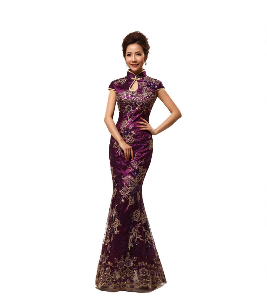 Drasawee Women Wedding Qipao Chinese Evening Long Cheongsam Dress PurpleXL