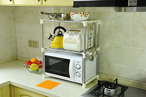 BYN 2-tier Kitchen Microwave Oven Shelf Expandable Kitchen Counter and Cabinet Shelf,white (Above Counter Microwave compare prices)