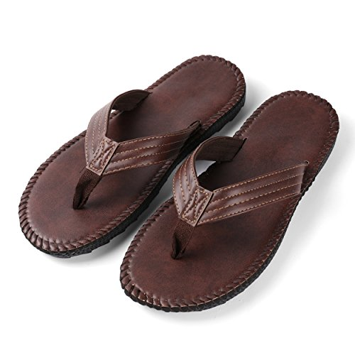 Leather Outdoor Brown Flip Thong Slipper Men's Flop Summer PU Aerusi Sandals Beach EfqAnxZfc