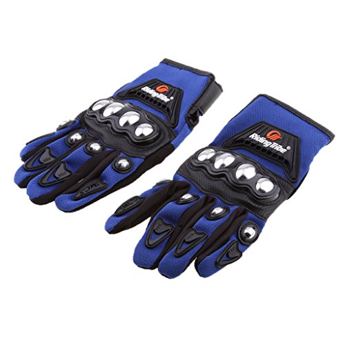 MagiDeal Motocross Racing Pro-Biker Motorcycle Cycling Full Finger Gloves M/L/XL/XXL - Blue Touchscreen, L