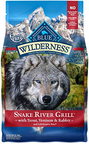 Blue Buffalo Wilderness Snake River Grill High Protein Grain Free, Natural Dry Dog Food with Trout, Venison Rabbit