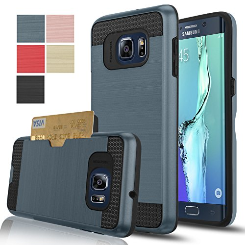 Galaxy S6 Edge Plus Case, S6 Edge Plus Case, AnoKe[Card Slots Holder][Not Wallet] Hard Silicone Rubber Hybrid Armor Shockproof Protective For Samsung Galaxy S6 Edge Plus G928 KLS Metal Slate (Galaxy Slate)