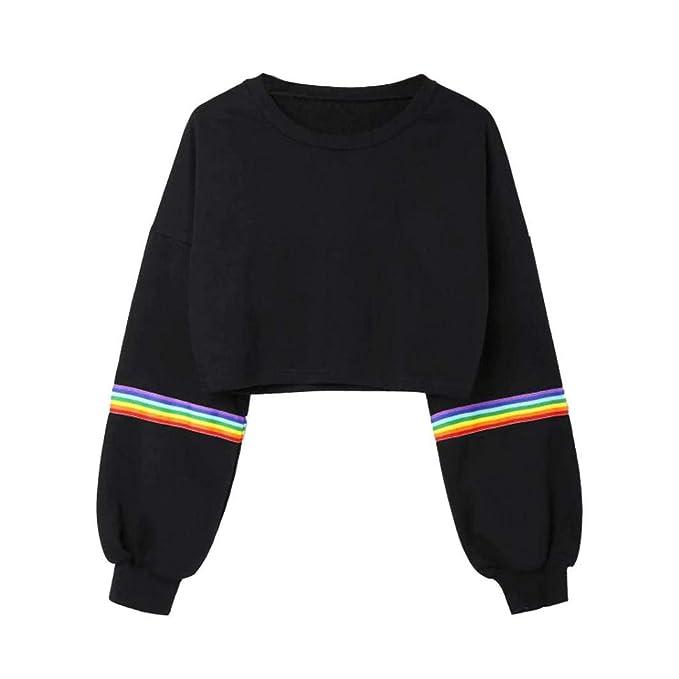 Für Original auswählen billiger Verkauf Einzelhändler Damen Mode Sweatshirt Sonnena Patchwork Regenbogen Langarm ...