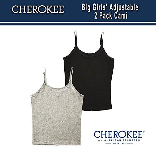Cherokee Girls' Big 2 Pack Cami Tank Tops for Teens, Black/Heather Grey, M