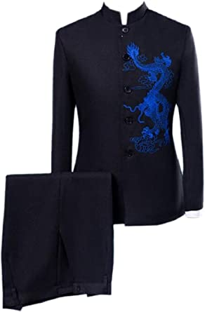 Abetteric Mens 2pcs Set Embroidered Relaxed Suit Jacket /& Pleated Pants Set