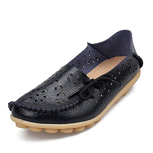 Temofon Frauen Leder Mokassins Loafers Driving Freizeitschuhe Indoor Wohnung Slip-On Hausschuhe Schwarz