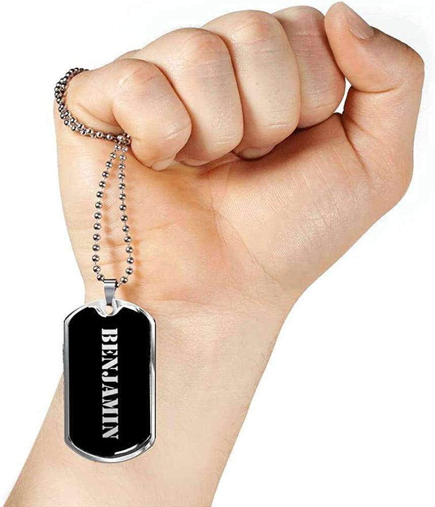 Luxury Dog Tag Necklace Personalized Name Gifts Benjamin v3