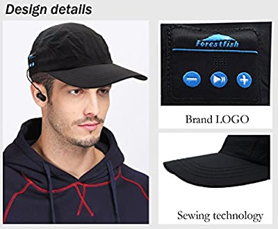 Forestfish(TM) Wireless Bluetooth Adjustable Baseball Cap Hands-free Headphone Headset Phone Call Answer Music Cap with Earphones Stereo Speakers & Mic Bluetooth Cell Phone Headset