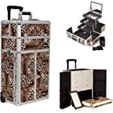 Sunrise I3565LPBR Leopard Professional Rolling Aluminum Cosmetic Makeup French Door Opening Craft Storage Organizer Case with Split Drawers, Extendable Trays and Brush Holder