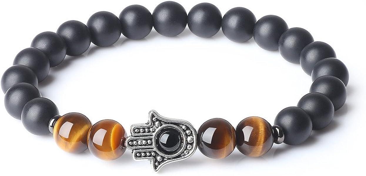 fd2e4e75a3 Bracelet Mala Perles Bouddhistes Pierres Véritables Onyx Noir Mat Œil de  Tigre Rouge Main Hamsa Symbole de Bonheur Unisexe