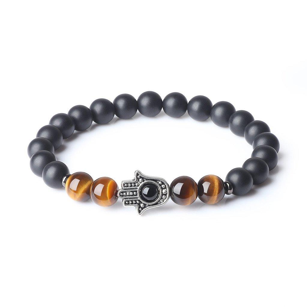 AmorWing Mens Womens Agate Stones Onyx Tiger Eye Hamsa Hand Protection Mala Bracelet N403-2