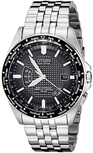 Citizen Men s Eco-Drive World Perpetual Atomic Timekeeping Stainless Steel Watch with Date, CB0020-50E
