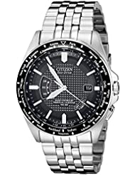 Citizen Mens Eco-Drive World Perpetual Atomic Timekeeping Stainless Steel Watch with Date, CB0020-50E