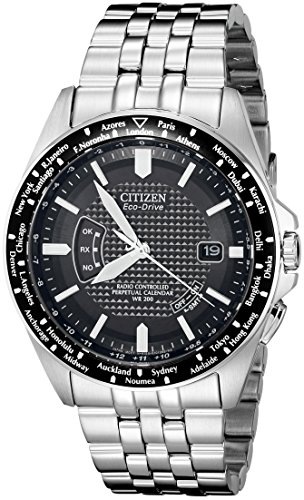 Citizen Men's Eco-Drive World Perpetual Atomic Timekeeping Stainless Steel Watch with Date, CB0020-50E (Steel Watch Stainless Atomic)