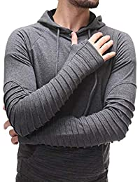 Men's Sweatshirt, Casual V-Neck Pure Color Stripe Stitching Full Sleeve Hoodie Hooded Tops