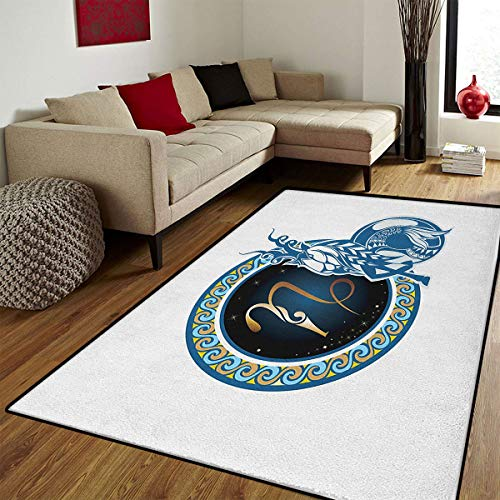 Zodiac Capricorn,Door Mats Area Rug,Animal Design with Mythological Origins Tribal Swirled Motifs Pattern,Customize Door mats for Home Mat,Multicolor,6x8 ft
