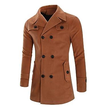 MEIbax Chaqueta de Invierno para Hombre Abrigo hombre Chaqueta para Hombre Abrigo de Invierno cálido Botón Largo Outwear Abrigo Elegante Abrigos: Amazon.es: ...