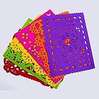 PREZENT MÉXICO, Set de manteles Individuales inspiración del papel picado mexicano, set de 6 piezas, decoración mexicana