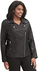 406ba4051b5e2 Wilsons Leather Womens Plus Size Marc New York Fauxleather Cycle Jacket W  Quilt Black
