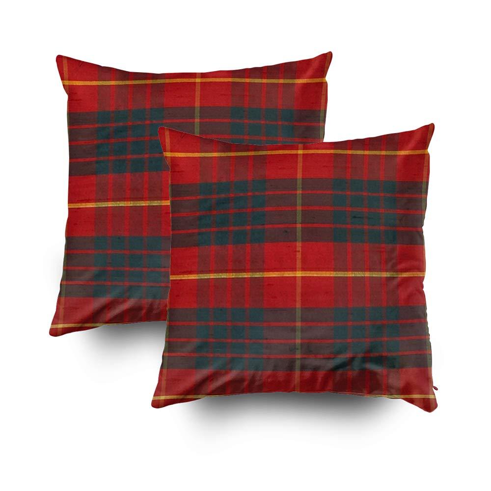 TOMWISH 2 Packs Hidden Zippered Pillowcase Cameron Clan Tartan Design 16X16Inch,Decorative Throw Custom Cotton Pillow Case Cushion Cover for Home