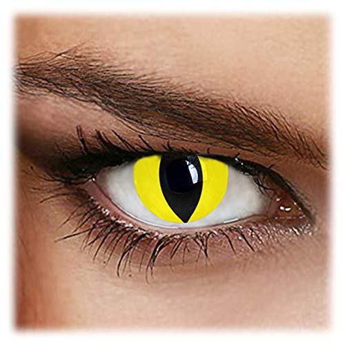 Yellow Contact Lenses Halloween (Yellow Cat Portable Contact Lens Box + Eyewear + Exclusive Packaging ideal for Parties, Costumes and Fancy)